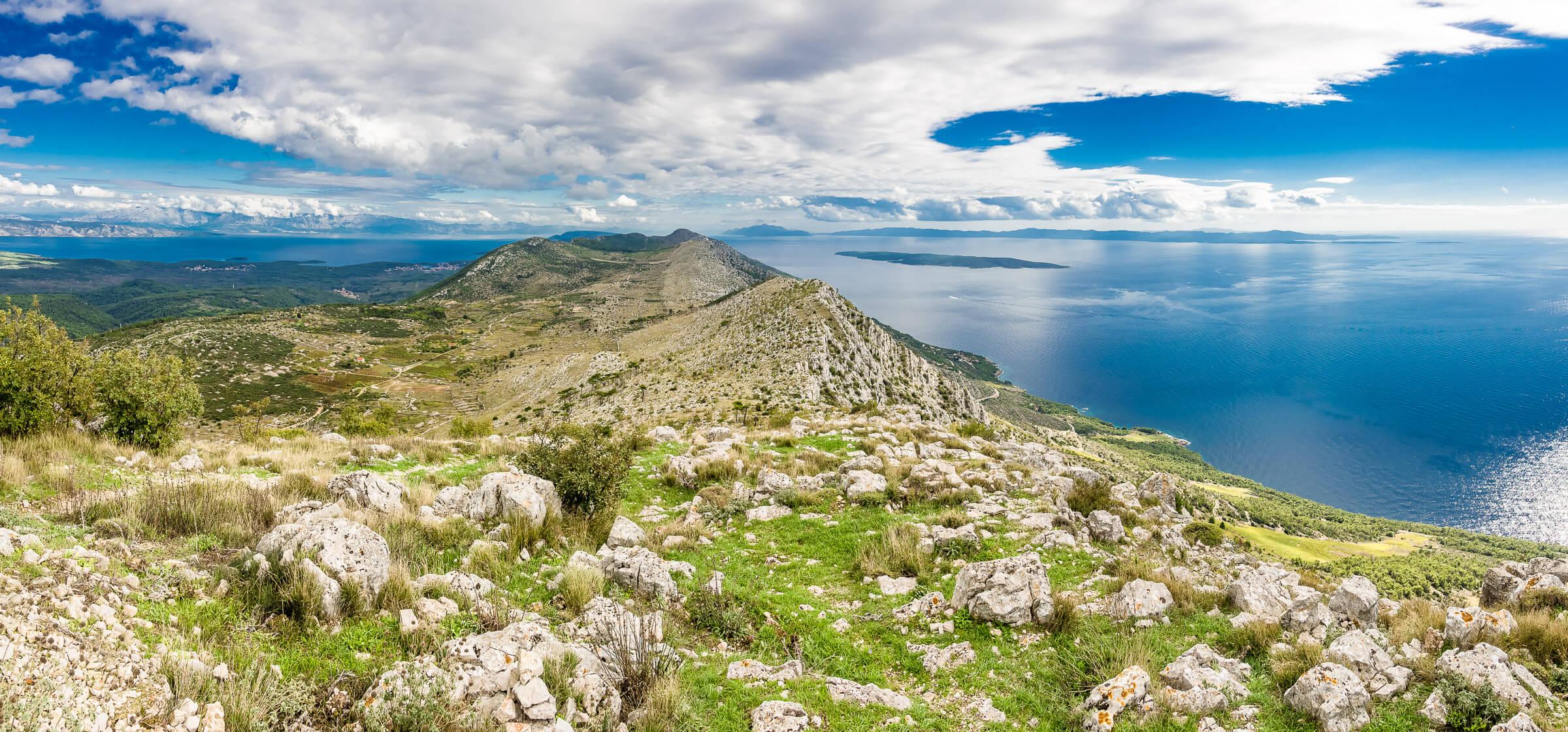 View of the island of Hvar, Croatia, from its highest peak - St. Nicolas