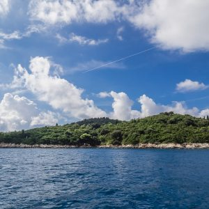 The island of Lokrum, floating in the blue of the Mediterranean