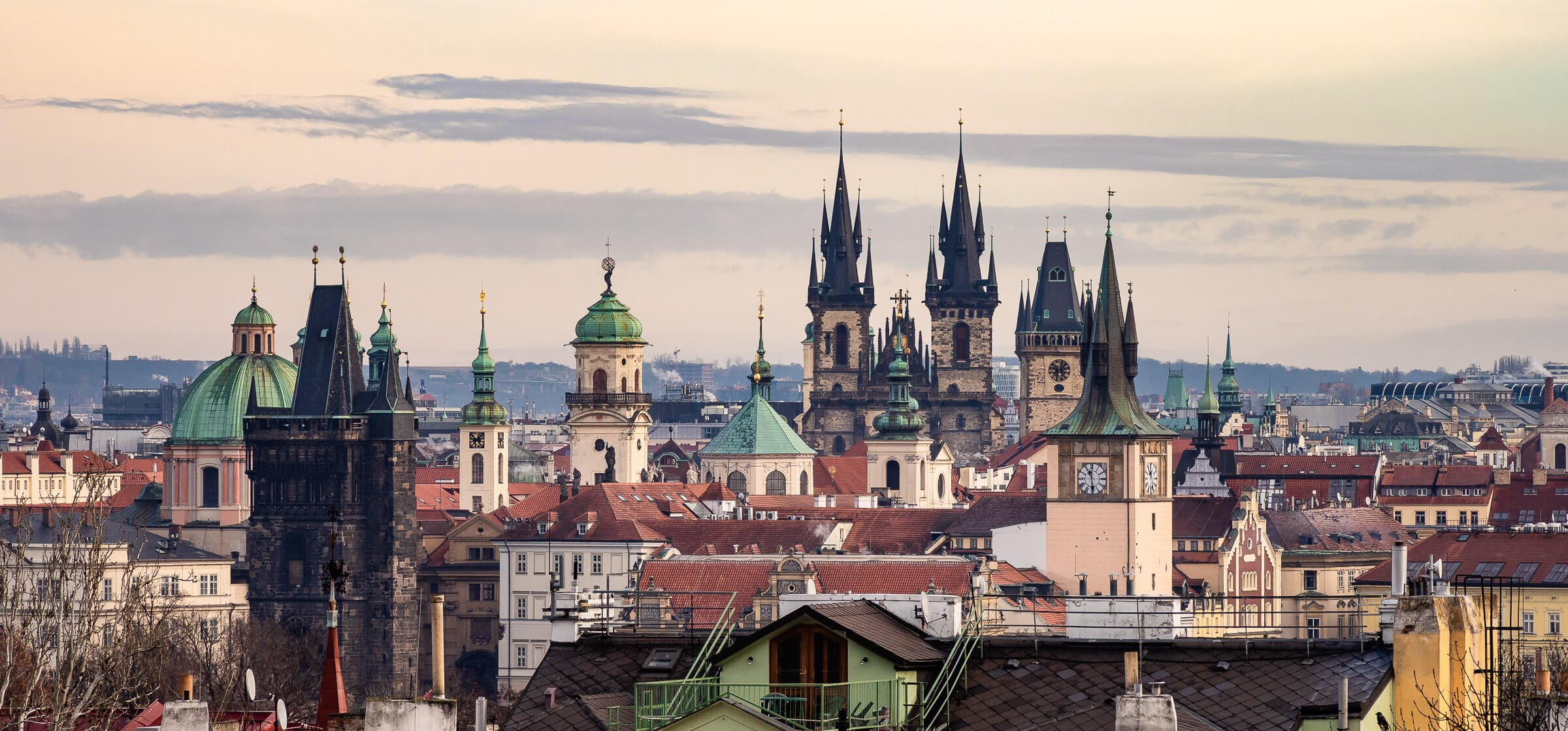 Panorama of the Prague Old Town Centre, Czech Republic