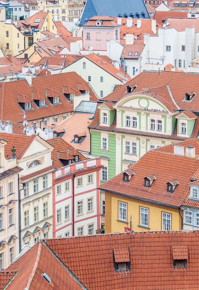 Colourful Old Buildings in Prague, Czech Republic