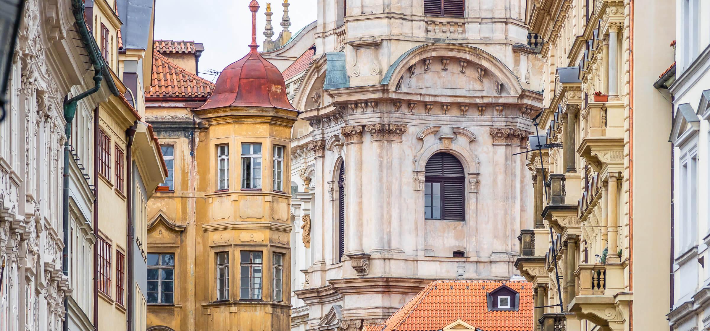 Colourful Old Buildings in Prague, Czech Republic