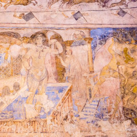 Fresco in Qasr Amra, One of the Desert Castles, Amman, Jordan