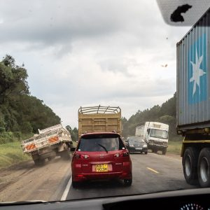 Mad driving on the roads in Kenya