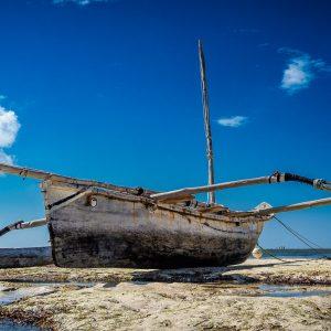 Dhow in the Indian Ocean near Mombasa, Kenya