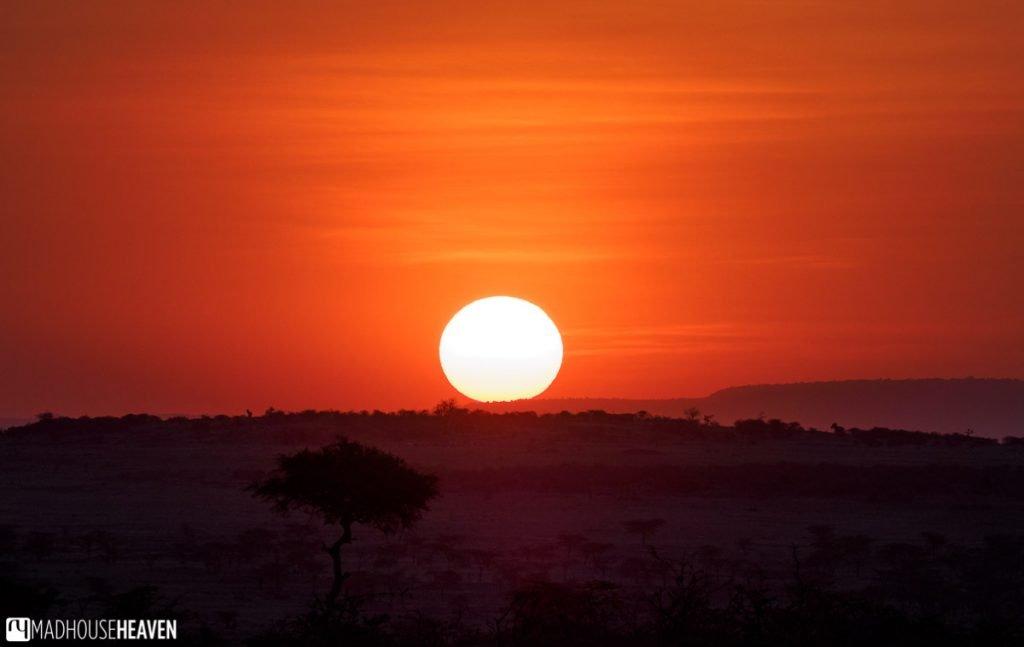 red sunset over Mara Naboisho conservancy