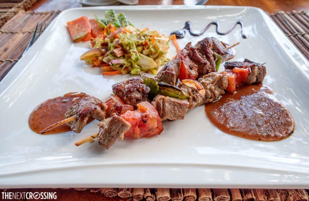 Plate of delicious food at The Royal Mara Safari Lodge