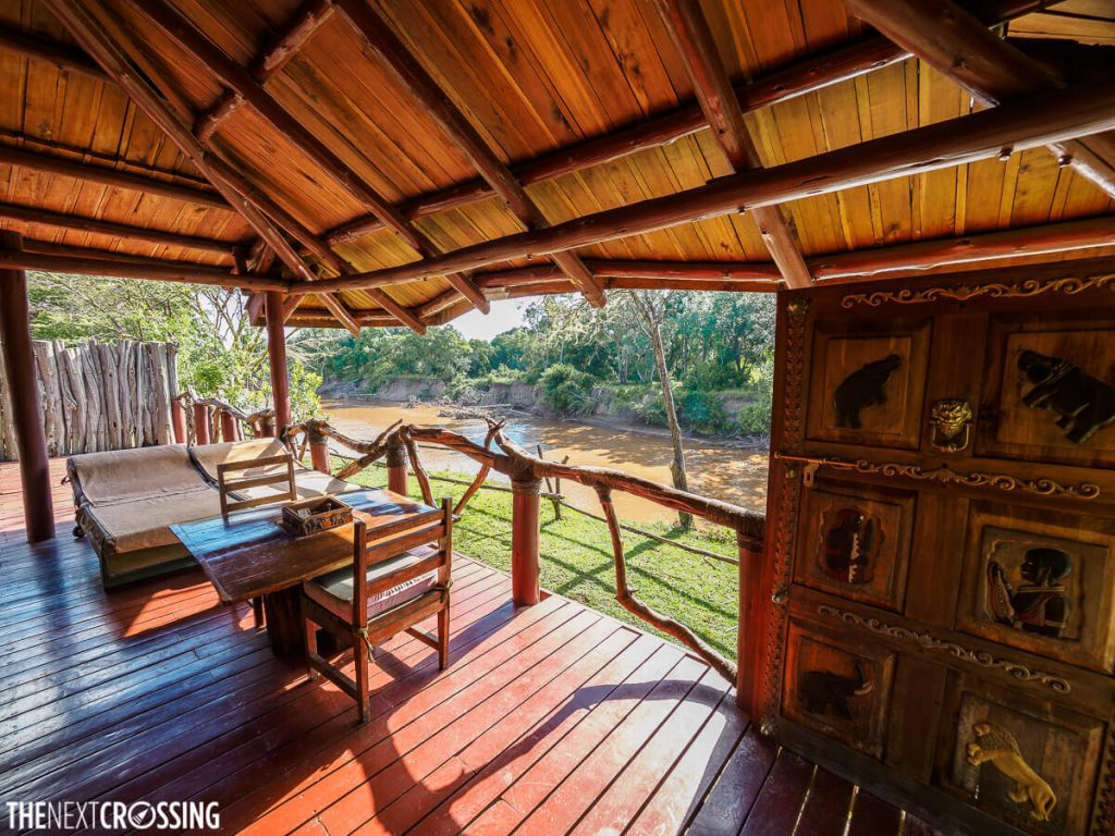 The large deck of our lodge, overlooking the Mara River