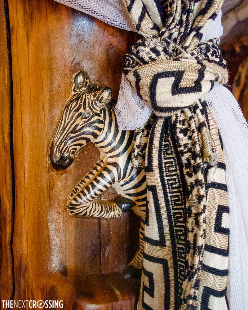Hand-crafted furniture with animal motives in The Royal Mara lodge