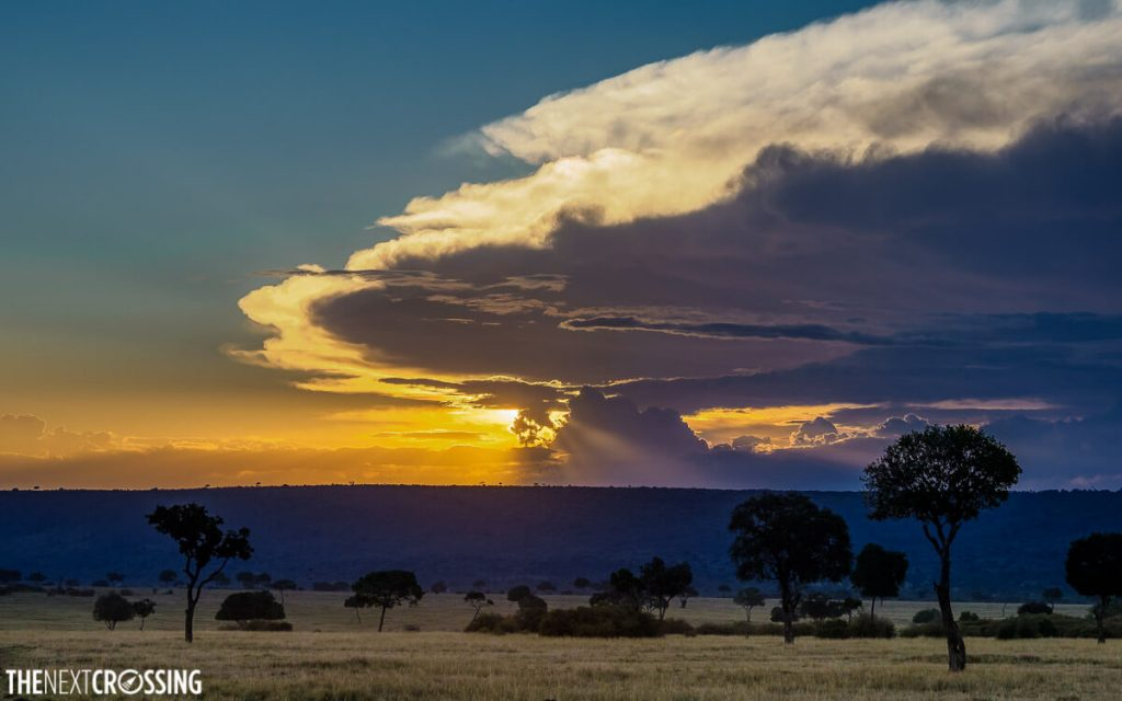 Startus clouds at sunset over the African savannah