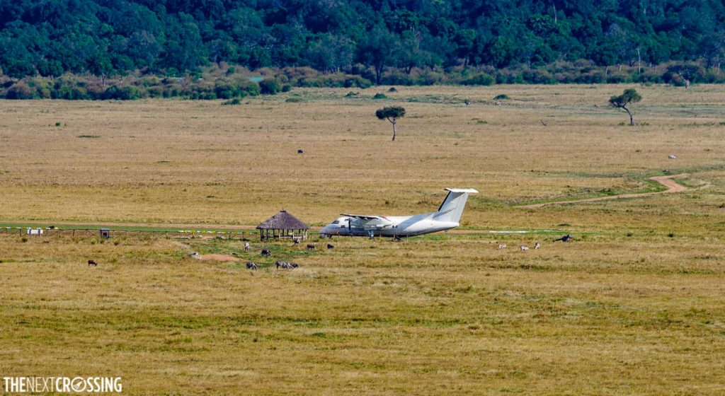 A small aeroplane on the plains of the Masai Mara