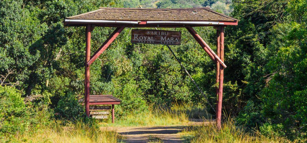 The main gate of The Royal Mara Safari Lodge