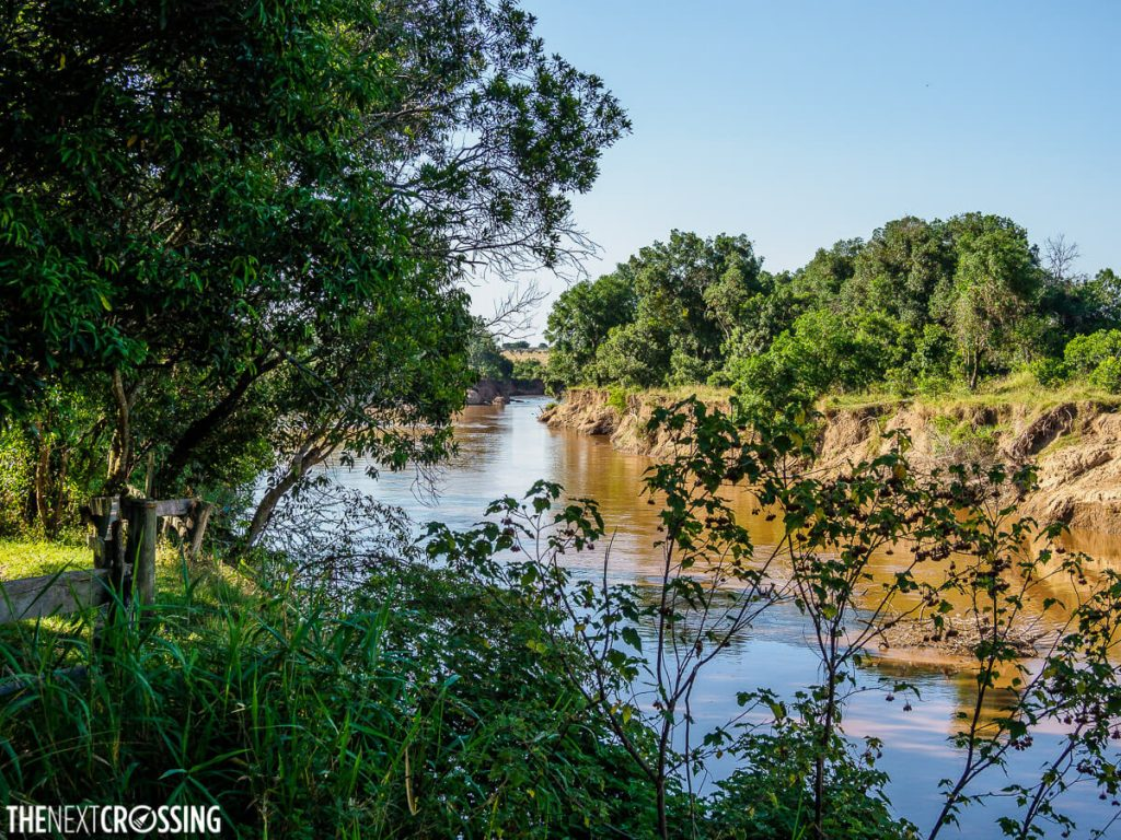 The portion of the Mara River that runs along the lodge