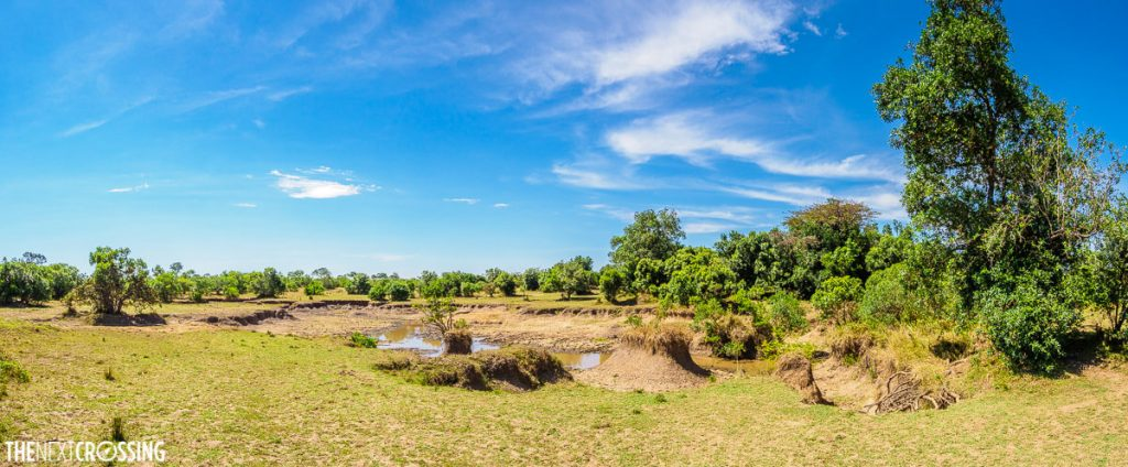 A nearly dried out river bed outside the Royal Mara