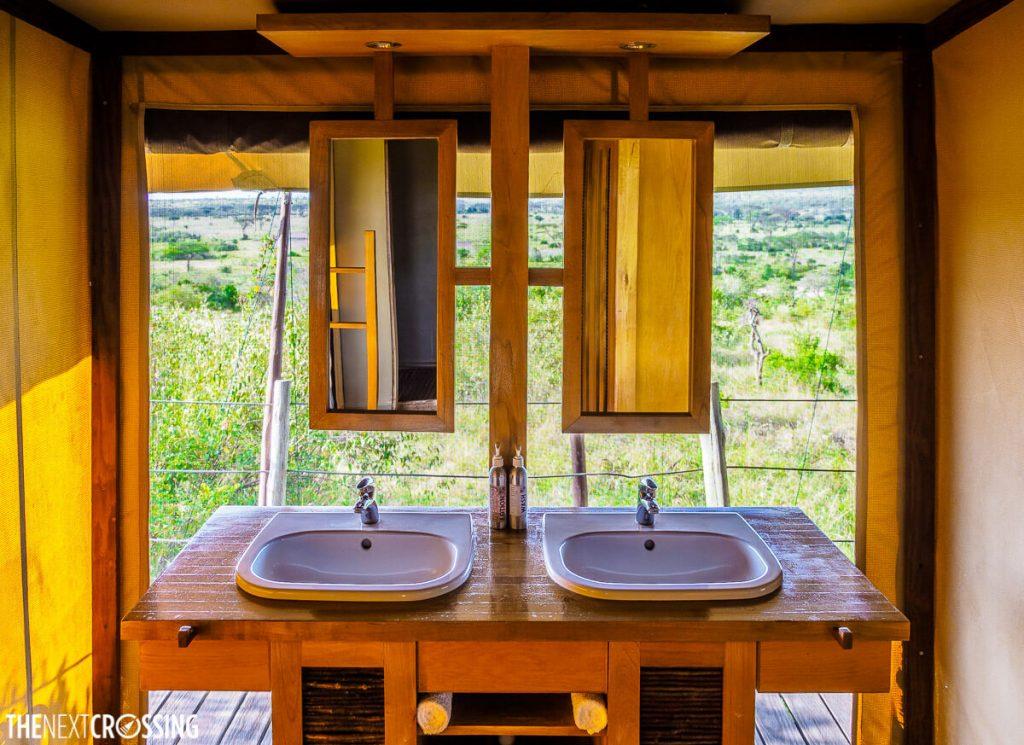 bathroom in eagle view tent overlooks the masai mara savannah