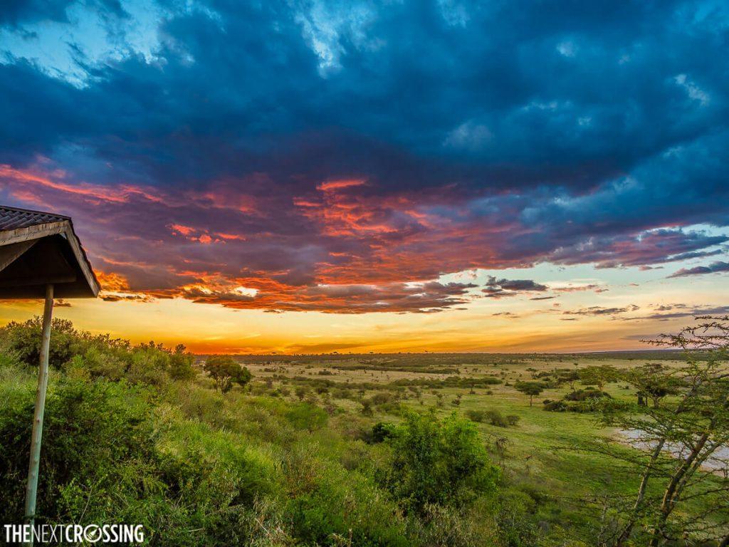 eagle view camp at sunset over landscape