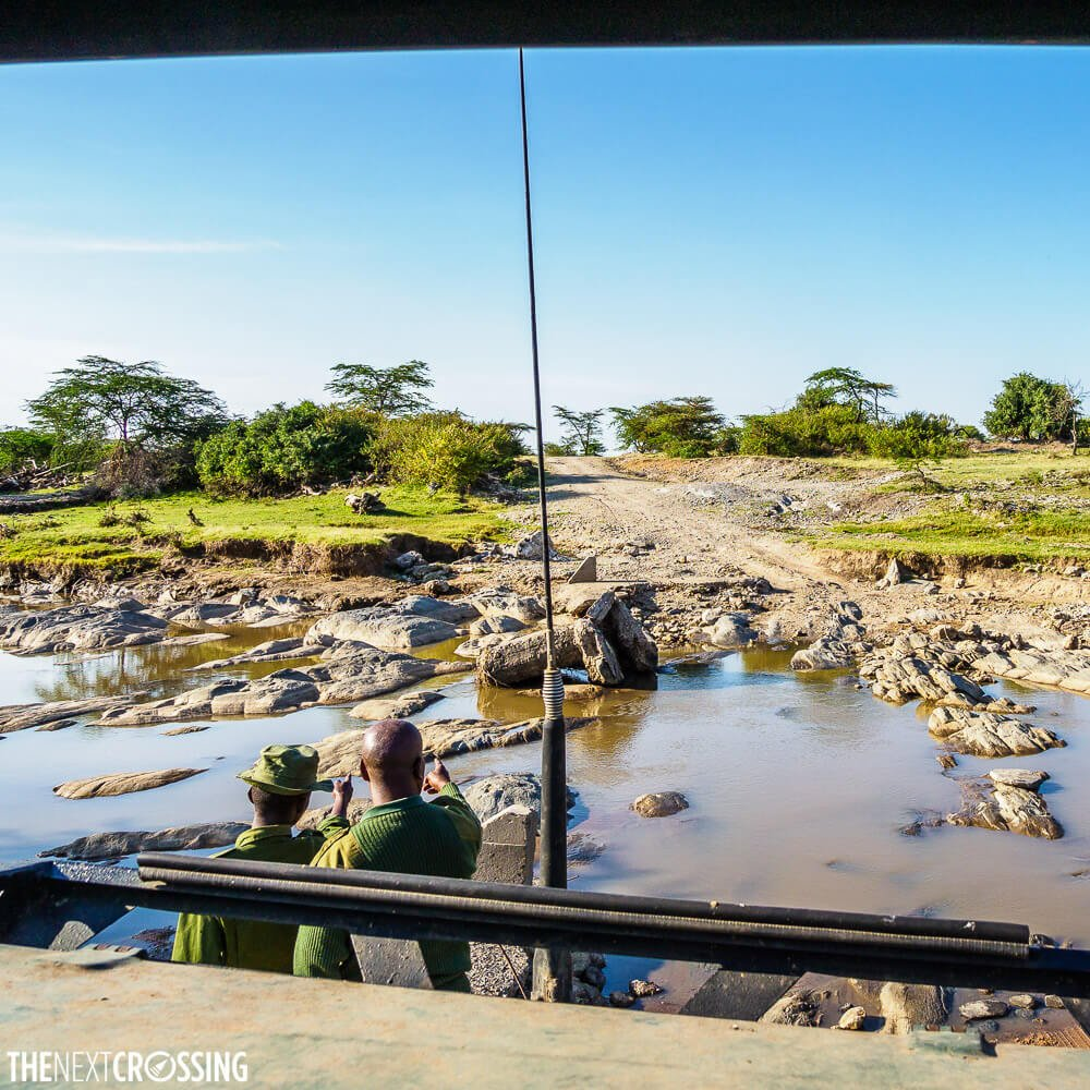 A road that has turned into a river due to increased unexpected rainfall in September in the Masai Mara