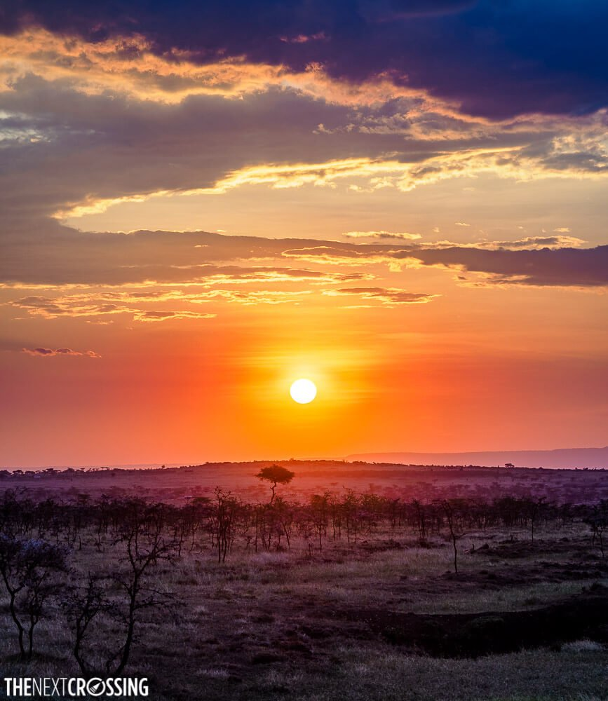Red and violet sunset over the African savannah in Mara Naboisho