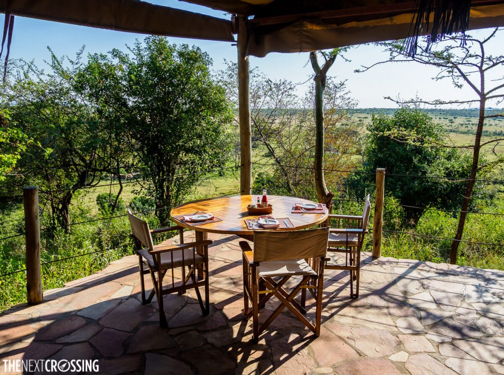 Restaurant with a view located in the bush of the Masai Mara