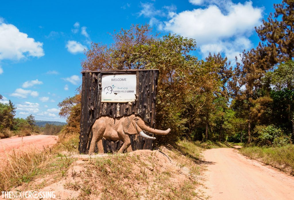 entrance to shimba hills lodge with a large relief of an elephant