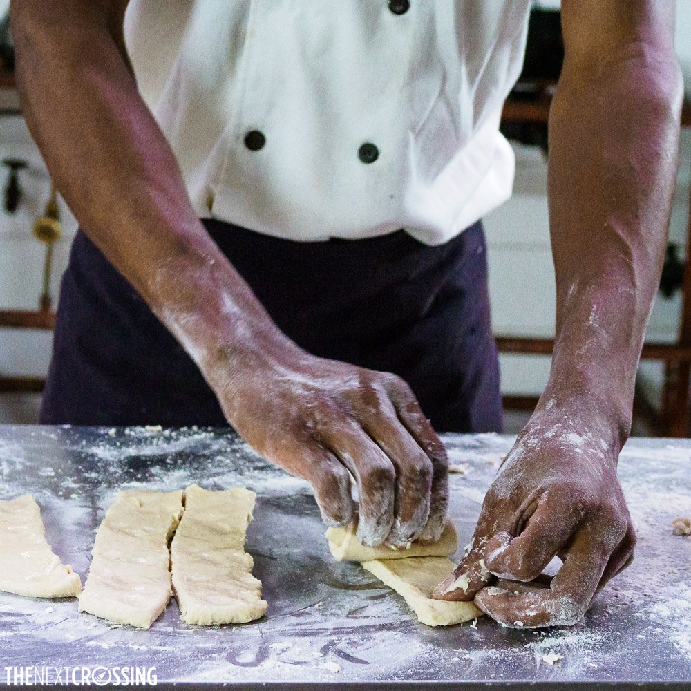 Folding the dough for chapati