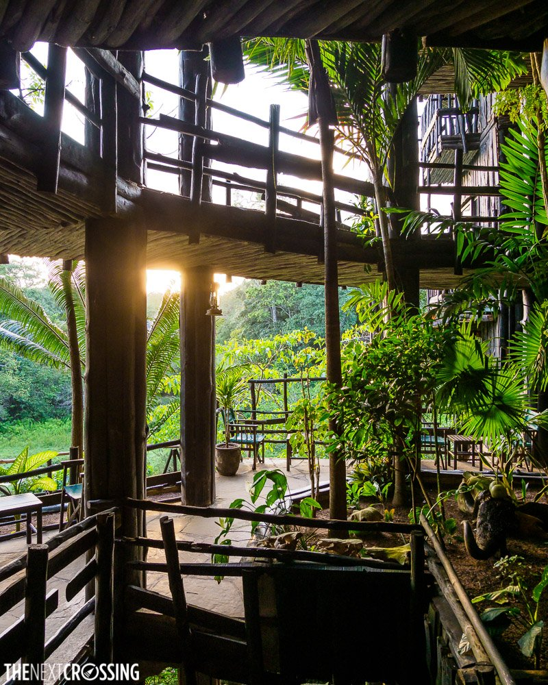 the corridors surrounding the central stairway of shimba hills lodge