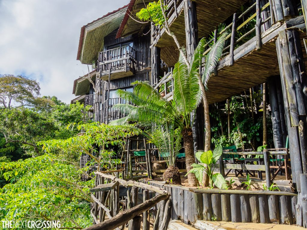 The terraced balconies of Shimba Hills Lodge where you can have tea or cocktails