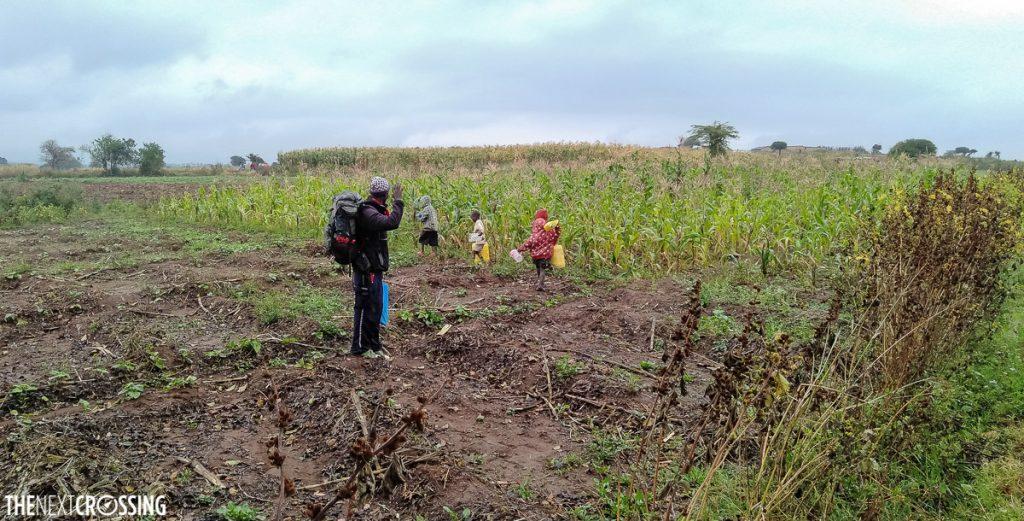 Kenyan guide in a maize field waving goodbye to Maasai village children
