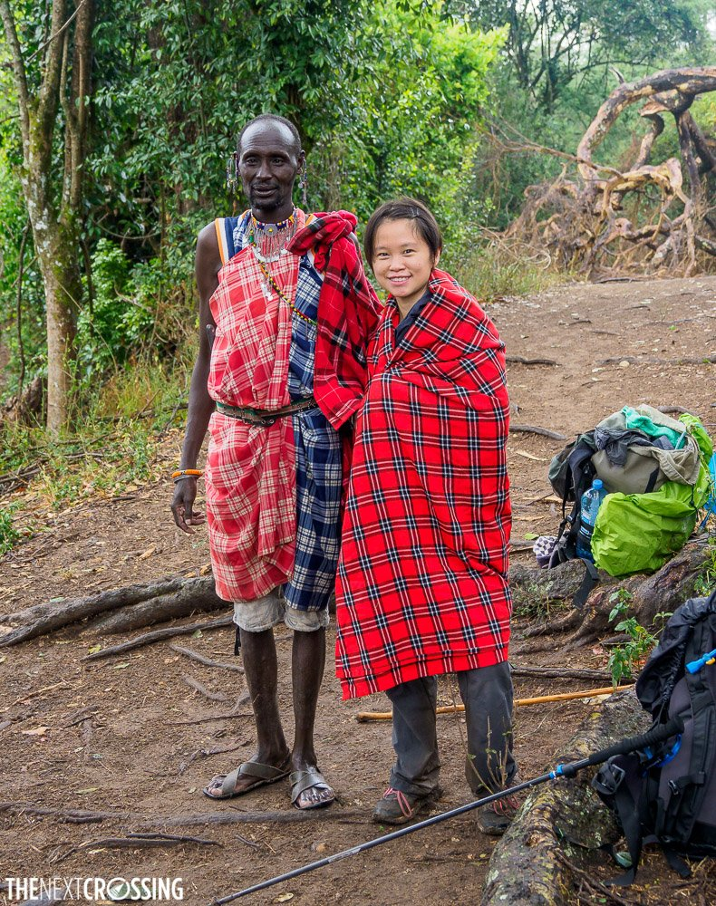 photograph with Maasai guide, Johnny, who is dressed in the traditional red shuka