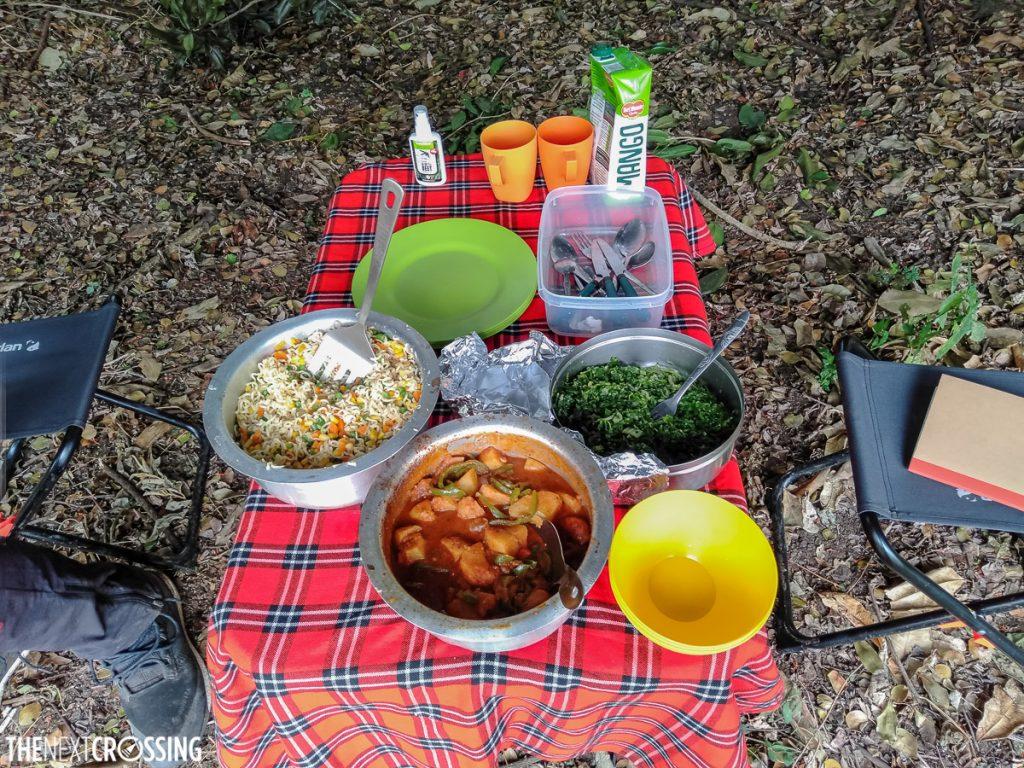 kenyan food, cooked at a campsite