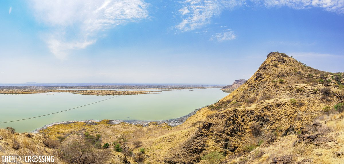 panoramic view from a bluff high up over the Magadi plains