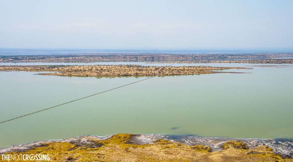 plains flooded with blue green alkaline water in Kenya