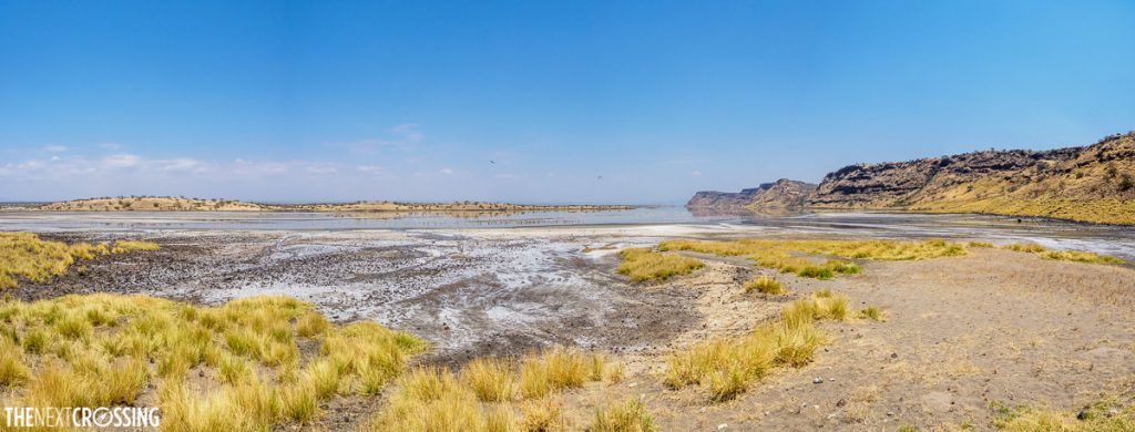 the salt coated salt line of an over flowing Lake Magadi