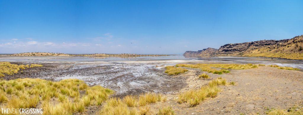 the salt coated salt line of an over flowing Lake Magadi