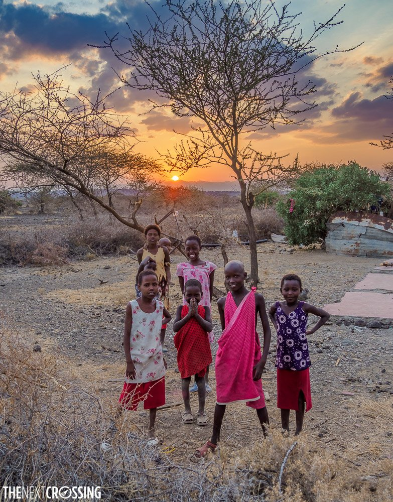 Maasai children posing for the camera in their village